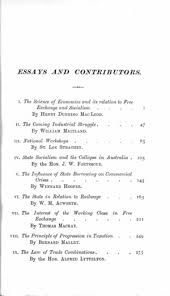 a policy of exchange essays by various writers on the  original table of contents or first page