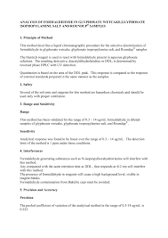 Roundup Dilution Chart Analysis Of Formaldehyde In Glyphosate Wetcake Glyphosate