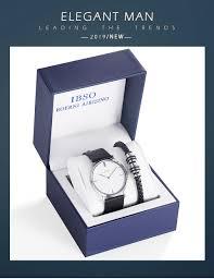 Mens Designer Watch Gift Set Ibso Brand Mens Quartz Bracelet Watch Set 7mm Ultra Thin Dial Quartz Wristwatch Business Genuine Leather Strap Watch Gift Set Designer Watch Discount