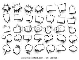 funny set ic book cartoon text dialog white empty cloud banner abstract