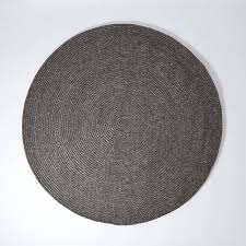 wool braided round rug charcoal small
