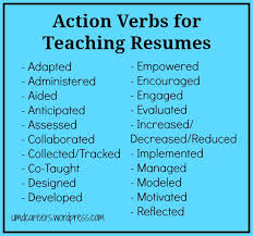 "Words To Use On A Teaching Resume Other Than ""Taught"" Peer Into Inspiration Action Words To Use In Resume"