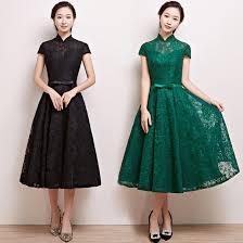 Color Lace Mandarin Collar Tea Length Aline Party Dress Modern Qipao