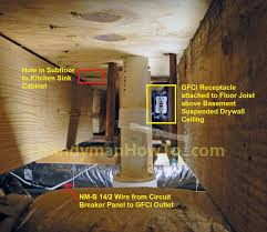 how to wire an electrical outlet under the kitchen sink wiring diagram hot water dispenser gfci outlet mounted to the floor joist