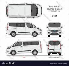 Ford Transit Tourneo Custom Van L1h1 2018 2019 Vector Image On Vectorstock Transit Custom Ford Transit Custom Vans
