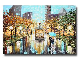 Lighted Central Park Canvas Wall Art Giclee Print Art Abstract Painting Couple Blue Umbrella City