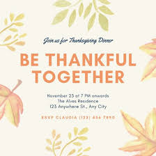 Thanksgiving Invites Yellow Illustration Thanksgiving Invitation Templates By Canva