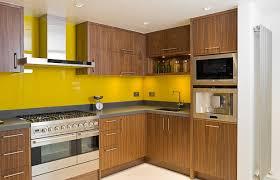 small l shape kitchen using yellow glass tile kitchen backsplash including black granite kitchen