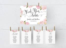 Wedding Seating Chart Diy Editable Ms Word Template Peony Floral Blush Pink Peg Style