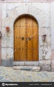 old wooden door coastal village island mallorca spain next terranean stock photo