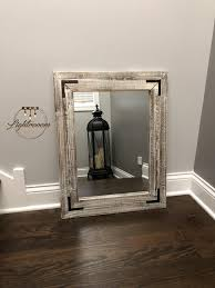 antique white bathroom wood mirror