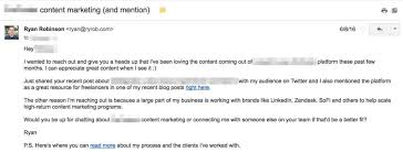 write best cold email tempalte on ryrob ryan robinson freelance business