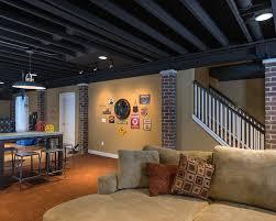 Paint Unfinished Basement Ceiling Black Wonderful Stair Railings Design Is  Like Paint Unfinished Basement Ceiling Black Design