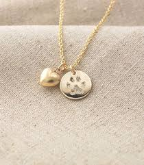 your pet s actual paw print custom personalized pendant and puffed heart charm necklace in 14k yellow gold fill â pet memorial jewelry