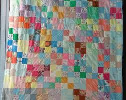 Patchwork quilt | Etsy & SALE Item 1960s Crazy Quilt Vintage Farmhouse Quilt, Cottage Bed Blanket  Hand Stiched Quilt Patchwork Adamdwight.com