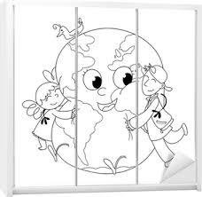 Quadro Su Tela Bambini Felici Che Abbracciano La Terra Da Colorare