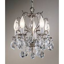 classic lighting barcelona millennium silver five light mini chandelier with italian crystal accents