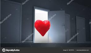 digitally generated image of open door with red heart shape photo by wavebreaka