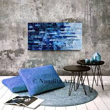 framed blue textured painting canvas