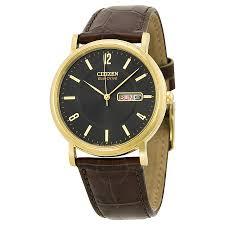 citizen eco drive black dial gold tone stainless steel brown citizen eco drive black dial gold tone stainless steel brown leather men s watch bm8242