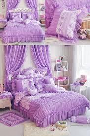 queen size fl dark purple ruffle bedding set