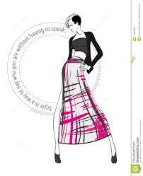 эскиз девушка в платье и модной цитате иллюстрация вектора