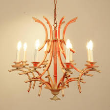 italian c painted bamboo chandelier the chandelier has eight arms and lights and a classic
