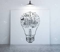 3d rendering front view of interior with creative business sketch inside light bulb on whiteboard illuminated by