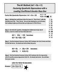 Ac Method The Ac Method Factoring Quadratic Expressions With An A 1 By Jteach