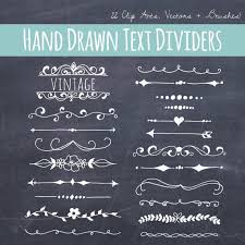 Etsy: Chalkboard Text Divider Clip Art // Plus Photoshop Brushes // Hand  Drawn Vintage Style // Ribbon Foliage Leaves // Vector // Commercial Use