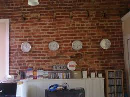 pictures to hang in office. Sophisticated Four Round Wall Clock Hang On Exposed Brick Feat White Wooden L Shape Cabinet As Decorate Vintage Home Office Decorating Ideas Pictures To In