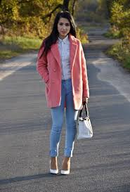pink peacoat looks cozy try it on atop white shirt tucked in light blue skinny jeans completed with white pumps and white handbag