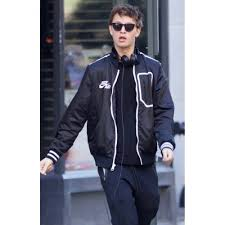 baby driver ansel elgort leather jacket for mens for