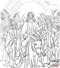 Jesus Entry Into Jerusalem Coloring Page