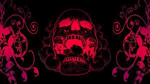 Red Skull Flowers Black Background 4k ...