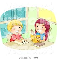 vector of a happy cartoon girl helping a boy math by bnp  vector of a happy cartoon girl helping a boy math