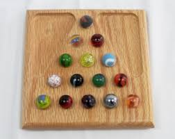 Wooden Solitaire Game With Marbles EXTRA large oak solitaire game 73
