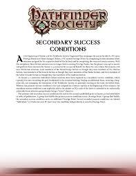 Paizo Com Pathfinder Society Secondary Success Conditions