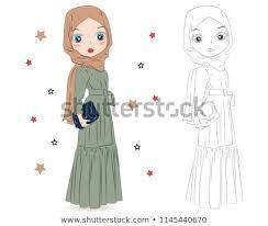 Set Hand Drawn Traditional Arabic Woman Stock Vector Royalty Free