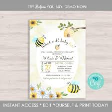 Gender Reveal Invitation Templates Gender Reveal Invitation Template Bee Gender Reveal Party Invitation Bumble Bee Gender Reveal Invitation What Will It Bee Editable
