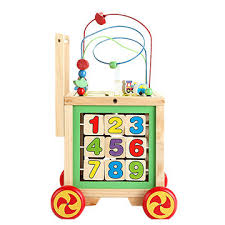 china big round bead multiple function wooden baby walker toy
