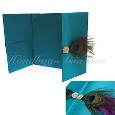 peacock invitations peacock wedding invitation folder with pocket holder handbag asia