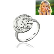 picture of personalized photo end ring memorial gift in 925 sterling silver