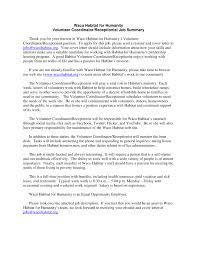 habitat for humanity volunteer coordinator habitat in waco county volunteer coordinator job description