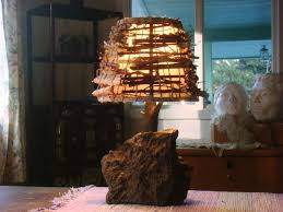 unique rustic lighting. Carefully Crafted Wood Is Used To Complement The Rock, While Shade Enhanced With Unique Rustic Lighting I