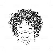 かわいい女の子の笑顔スケッチご自身の設計用に いたずら書きの