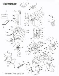 thermax dv 12 therminator cp 12 commercial unit only usa vacuum thermax therminator dv12 cp12 professional hot water extraction cleaning system main unit parts list schematic