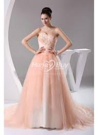 styles tulle sweetheart a line peach colored wedding dresses