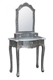 chaandhi kar black silver metal embossed dressing table with mirror for at