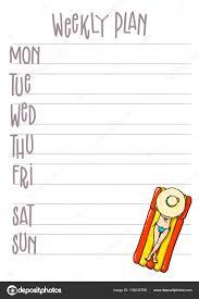 Printable Week Planner Week Plan Printable Page Vector Organizer Template With Cartoon